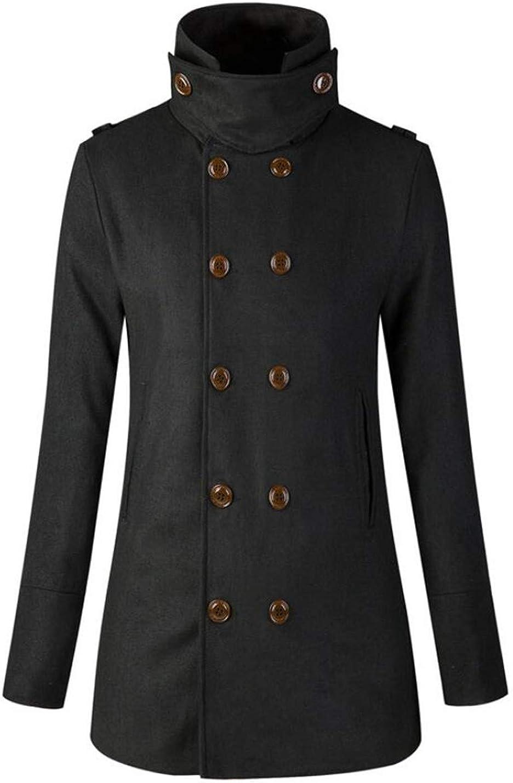 MU2M Men Trench Coat Slim Fit Double-Breasted Wool Blend Pea Coat