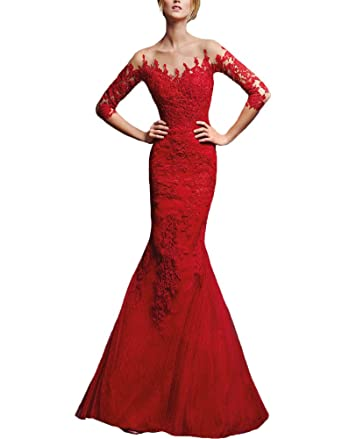Amazon.com: Ankang Womens Formal Lace Red Mermaid Long Evening Prom Dress with Sleeves: Clothing