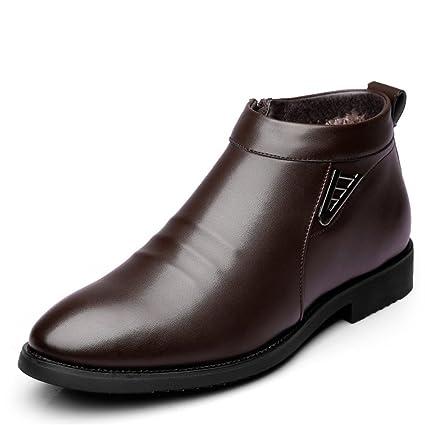 Sunny&Baby Botas de Invierno de los Hombres de Vlevet Retro cómodos Zapatos de Nieve de Cuero