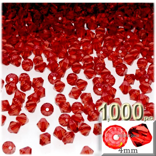 (The Crafts Outlet, 1,000-pc Acrylic Bicone Beads, Faceted, 4mm, Ruby)