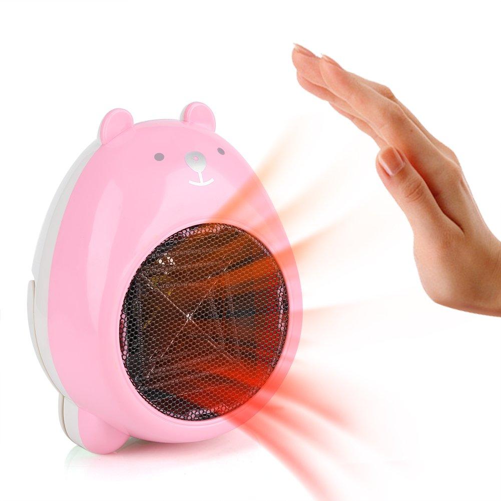 Zerodis Radiateur Soufflant Electrique de Ventilateur Chauffage Soufflant en c/éramique Portable Dessin Anim/é de 220V pour Table Bureau Maison Hiver Pink