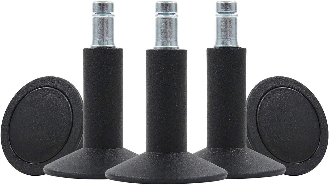 5 Stück Gleiter für Bürostühle Höhe 56 mm Stift 10 mm mit Filz NEU