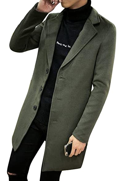 Pivaconis Mens Casual Single Breasted Slim Fit Trench Jacket Pea ...