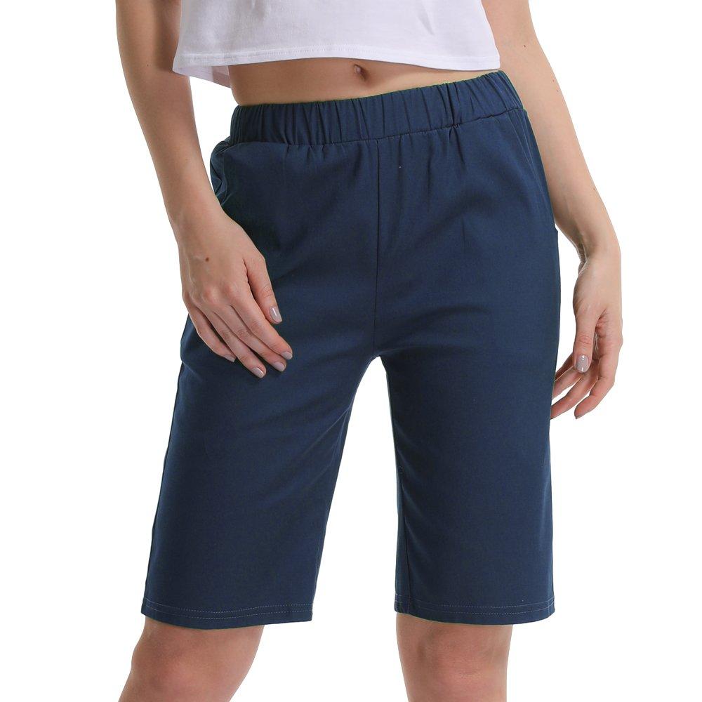 Gooket Women's Casual Elastic Waist Knee-Length Bermuda Shorts