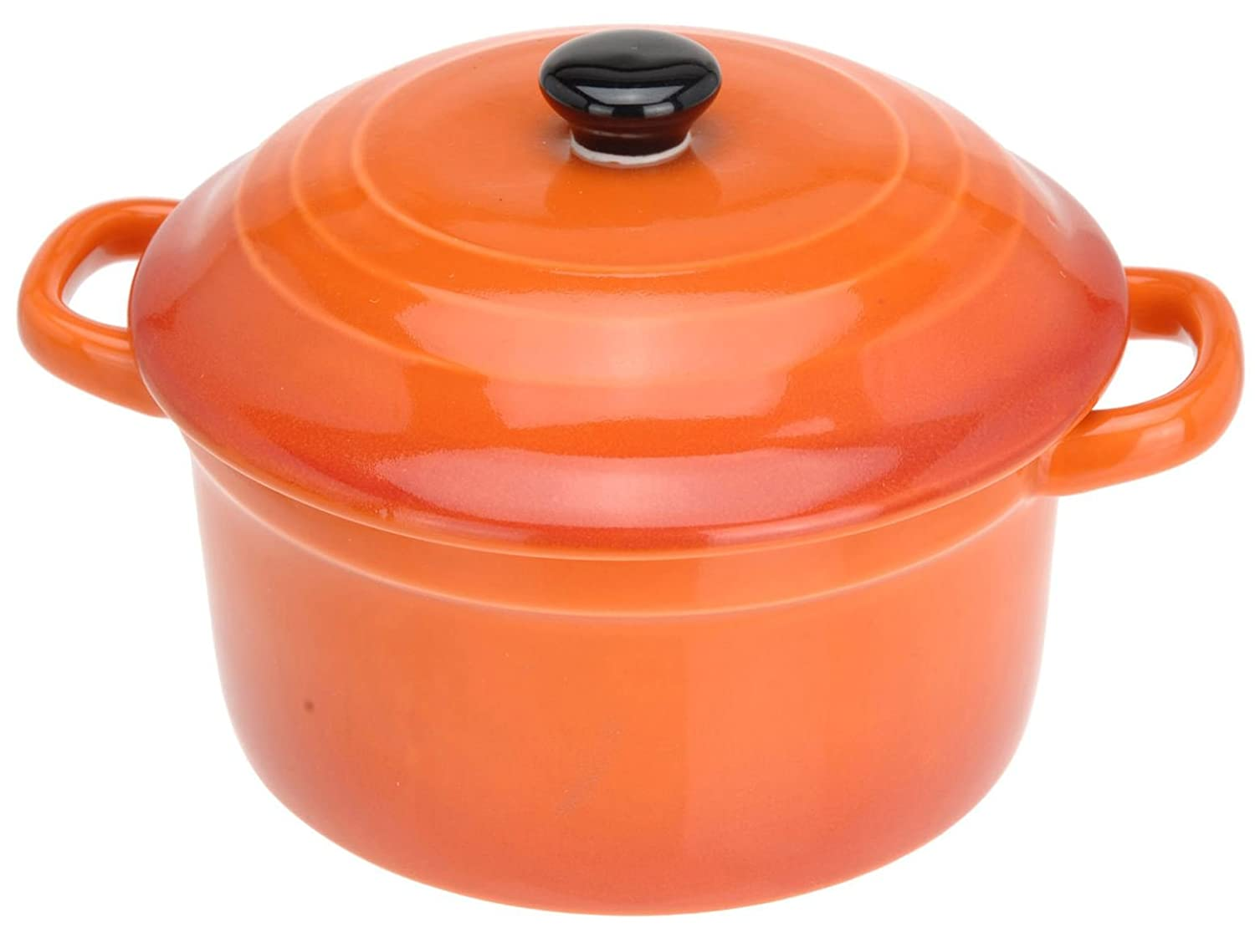 Carousel Home and Gifts Ovenproof Ceramic Porcelain Pan Mini Casserole Oven Dish Cocotte With Lid 10cm - Orange