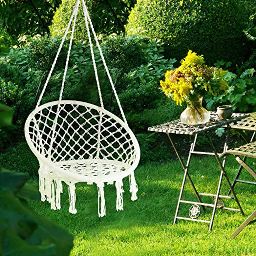 Enkeeo Swing Hanging Chair With Handmade Knitted Cotton Rope Romantic Tassels Macrame Round Hammock Chair For Indoor Outdoor Home Garden Patio Balcony And Bar 130kg 290lbs Capacity Warm White Buy Online In