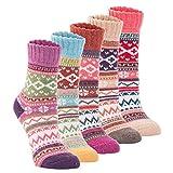 Yannk Women's 5 Pair Pack Vintage Style Cotton Crew Socks (SK32-1-B) Large (6.5~10.5(US) )