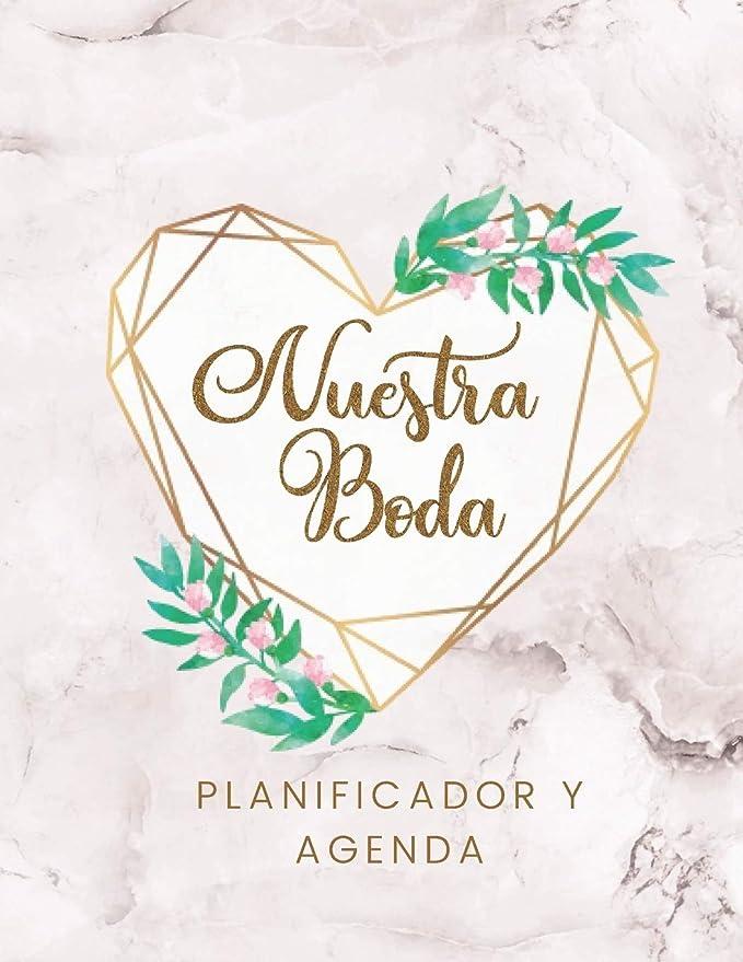 Nuestra Boda Planificador y Agenda: Organizador y Agenda para Novias o Novios para planear todas las actividades previas a la boda tema marmol corazon ...