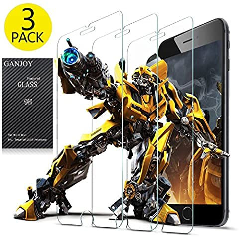 GANJOY 3-Pack iPhone 8 / 7 / 6s / 6 Screen Protector Glass, 0.3MM Slim And 9H Hardness, Anti-Fingerprint, for Apple iPhone 8, iPhone 7, iPhone 6S, iPhone (Iphone 3 Protector)