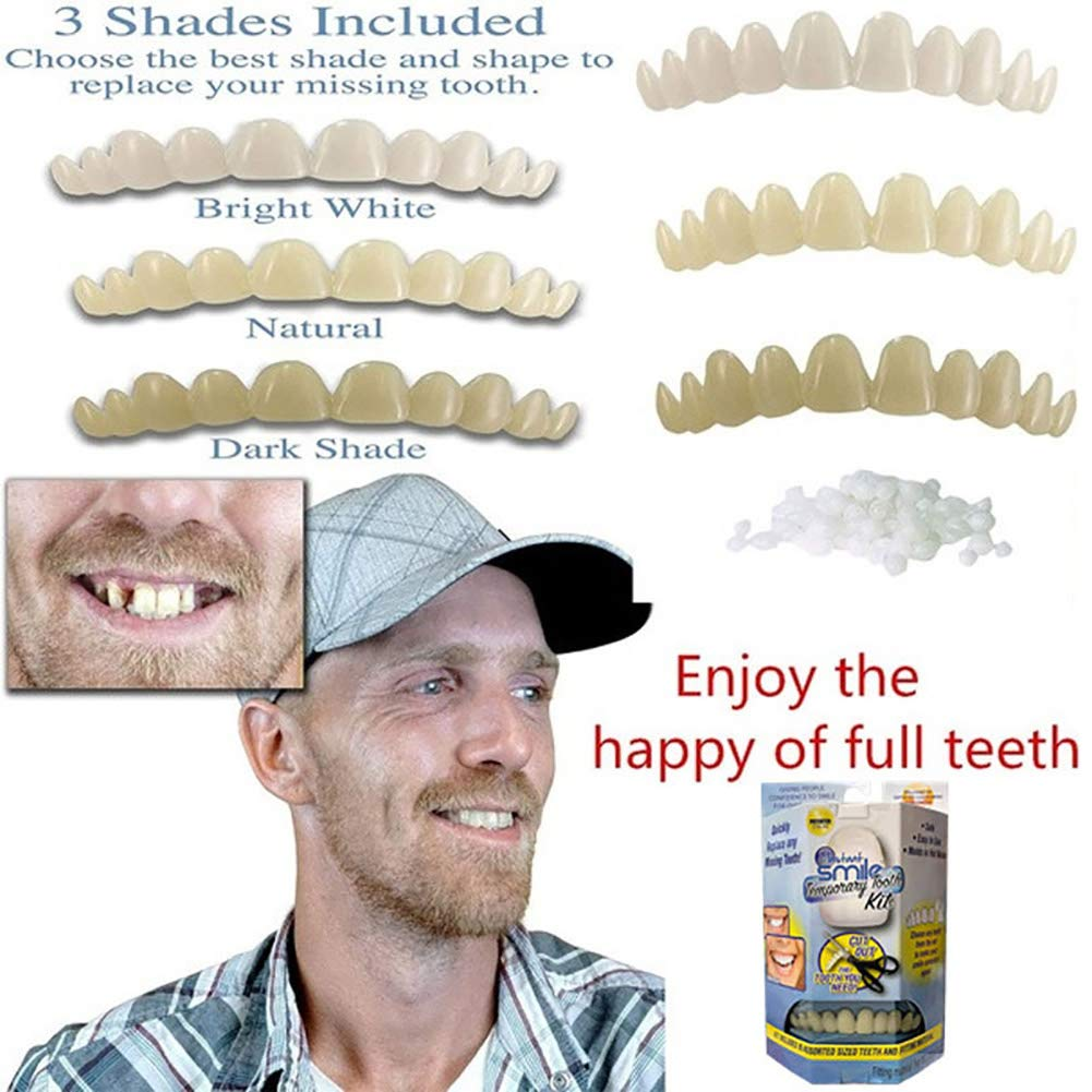 Fernando feliz 3 unids carillas dentales para los Dientes Diente Falso extra/íble Sonrisa Temporal Diente Dientes Falsos para los Dientes se Ven Blancos y ordenados