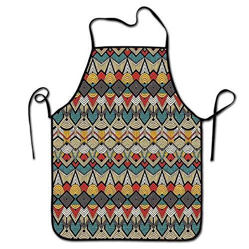 Winnee African Apron Chef Tribal Chevron Zigzags and Half Circles Folkloric Elements Sharp Canonical Motifs Apron Chores Multicolor - Love Hat I Lucy Chefs