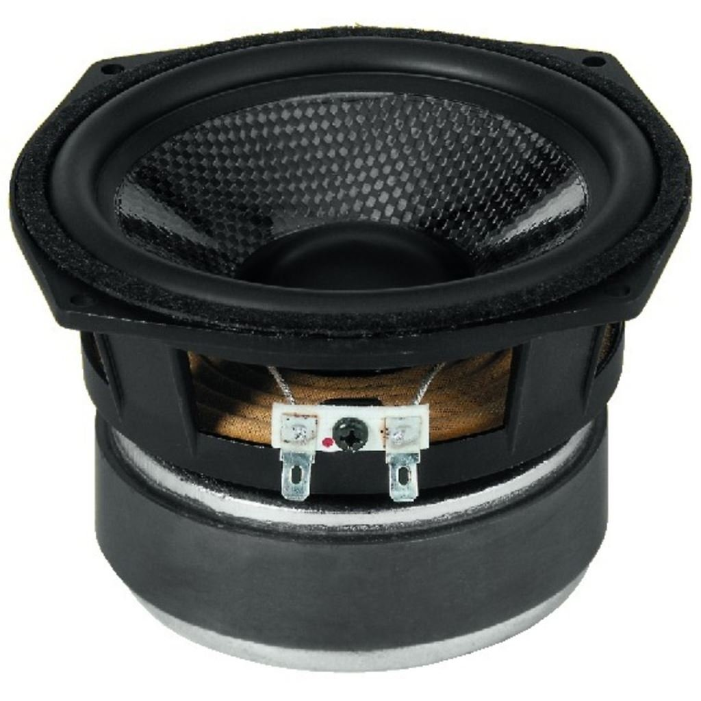 Hochwertigen Hi-Fi Bass-Mitteltö ner-Lautsprecher mit Kohlefaser-Membran (80 WMAX, 50 WRMS, 8 Ohm) Monacor 10.2310