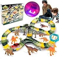 HOMOFY Dinosaur Toys 192pcs Slot Car Race Flexible Tracks 12 Dinosaurs,2 Cars Create A Road Toys for 3 4 5 6 7 Year Old Boys Girls Toddlers Birthday Gifts