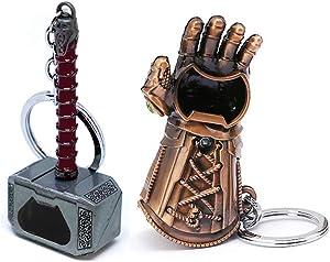 Nidavellir 2-Pack Mjolnir Keychain Bottle Opener Infinity Gauntlet Keychain Bottle Opener, Thor Hammer Keychain Bottle Opener Thanos Glove Keychain Bottle Opener