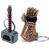 Nidavellir 2-Pack Mjolnir Keychain Bottle Opener Infinity Gauntlet Keychain Bottle Opener, Thor Hammer Keychain Bottle Opener