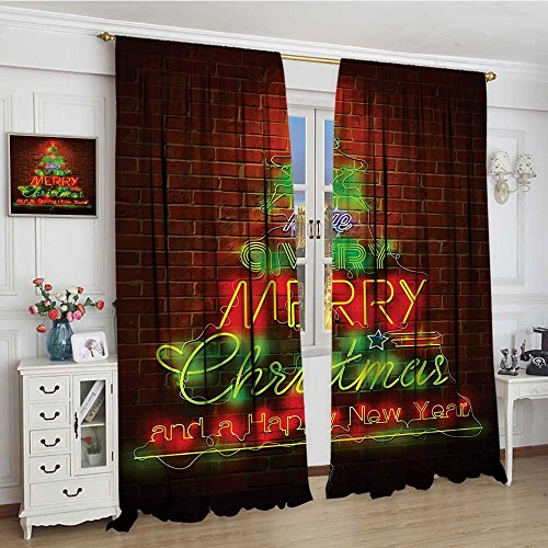 youpinnong Christmas Room Darkening Curtains Neon Lights Sign Have a Merry Xmas and Happy New Year Phrase Against The Wall Blackout Draperies for Bedroom 96