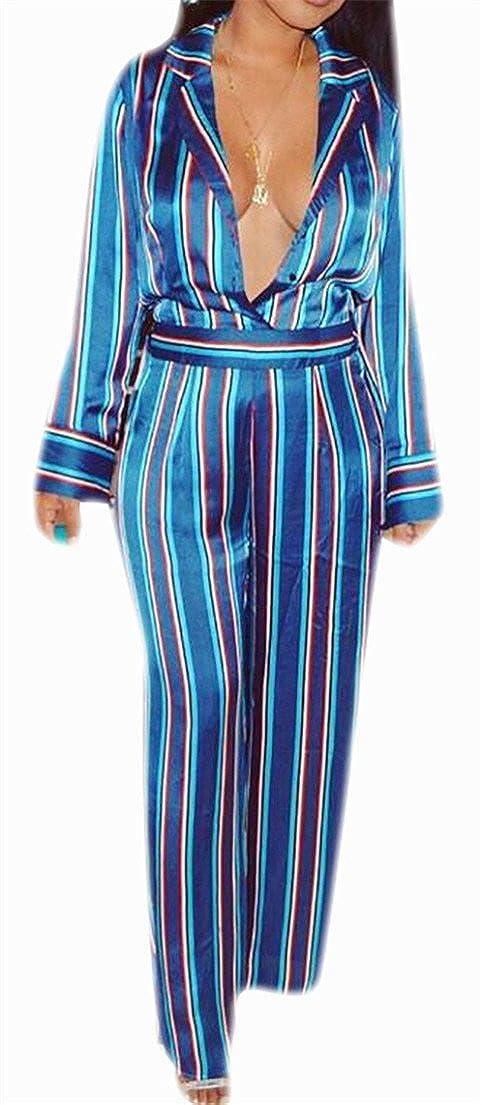 Big Tang Womens Jumpsuit Stripe Deep V-Neck Cut Out Long Pant Playsuit