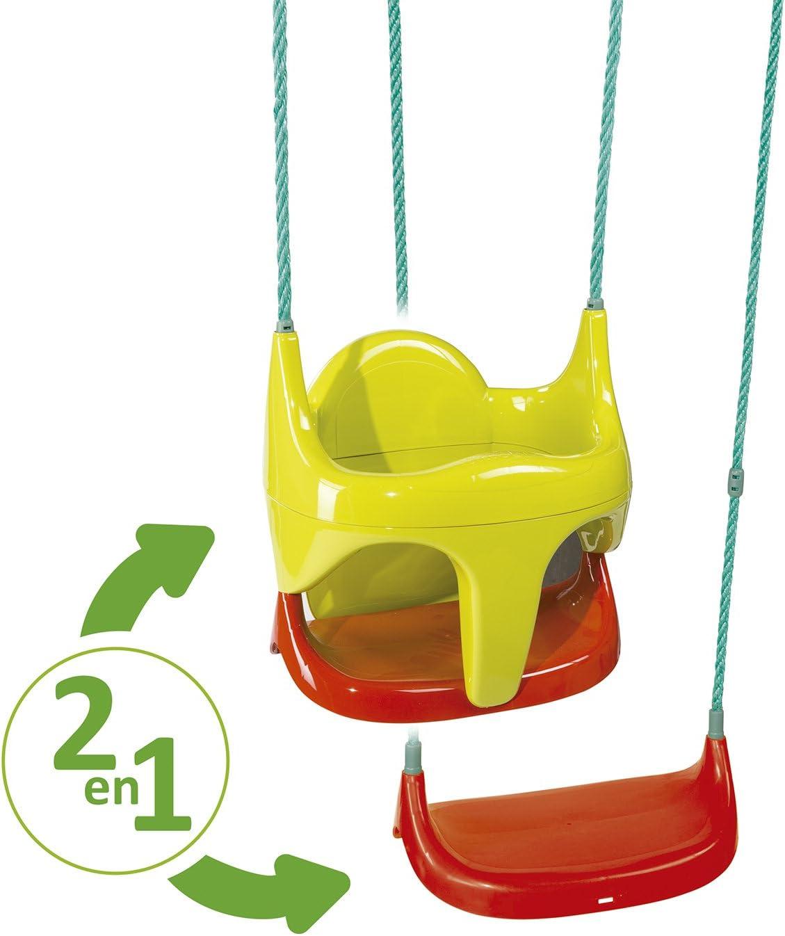 Smoby-310194 Silla Columpio Bebé evolutiva 2 en 1, Color Rojo, Amarillo, Simba Toys 310194