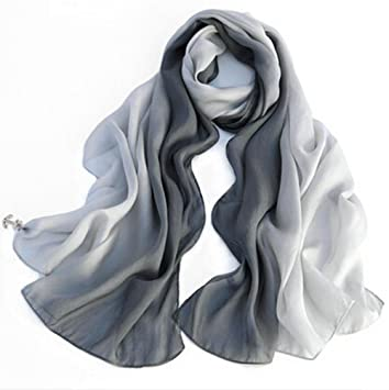 SIGI Ladies fashion Silk Scarf Gradient colour Shawl Scarves (Grey White)   Amazon.co.uk  Sports   Outdoors d70eae1db4ae6