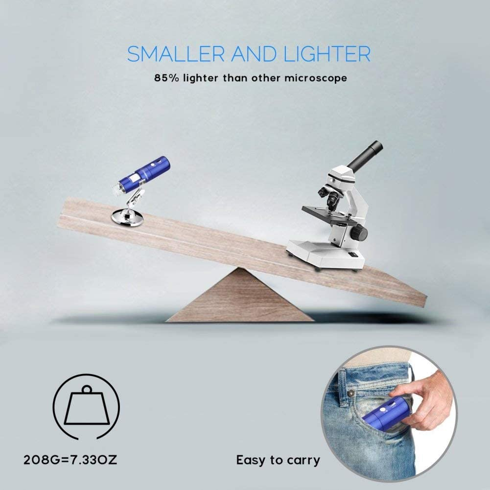 for iPhone//Ipad//Android//Windows//Mac,Blue QZY Wireless WiFi LED Microscope,50X to 1000X Magnification USB Charging Digital Portable