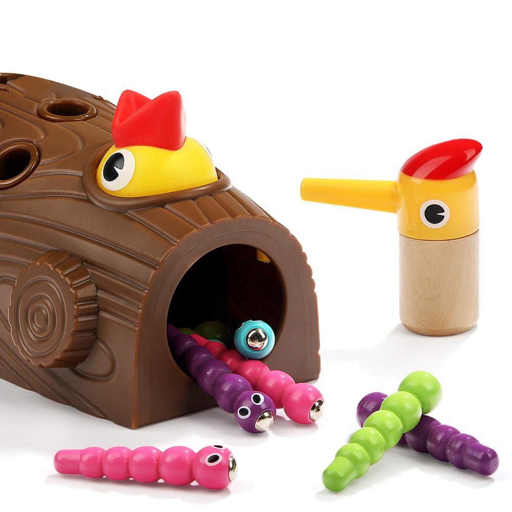 HUAhuako Catch Caterpillar Worms Game, Wooden Magnetic Woodpecker Educational Kids Toy Ages 2 Years Old and Up by HUAhuako