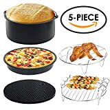 Air Fryer Accessories, Universal 5 Piece Air Fryer Accessories Kit for Gowise Phillips Cozyna and More, Fit all 3.2QT-5.3QT-5.8QT by YirYon