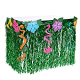 Hawaiian Luau Hibiscus Table Skirt - Wonder4 Green Flowered Artificial Grass Table Skirt 9ft with Musical Symbols & Colorful Faux Flowers for Party Decorations (1 Packs)