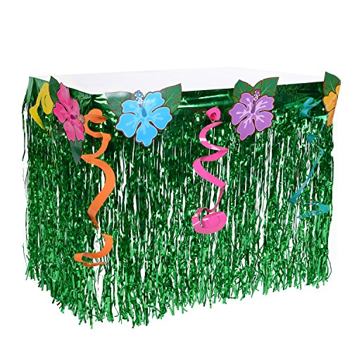 Hawaiian Luau Hibiscus Table Skirt - Wonder4 Green Flowered Artificial Grass Table Skirt 9ft with Musical Symbols & Colorful Faux Flowers for Party Decorations (Table Skirt Flowered)