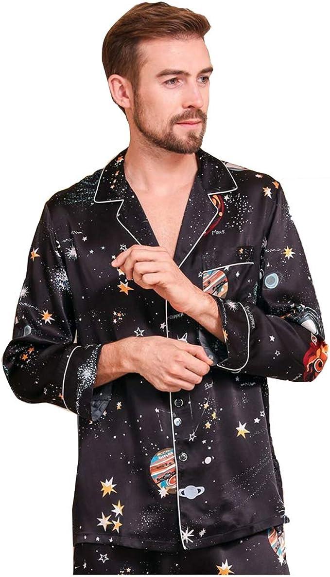 Conjunto de Pijama de Seda de Morera 100/% Pura para Hombre Ropa de Dormir de Seda Estampada Negro