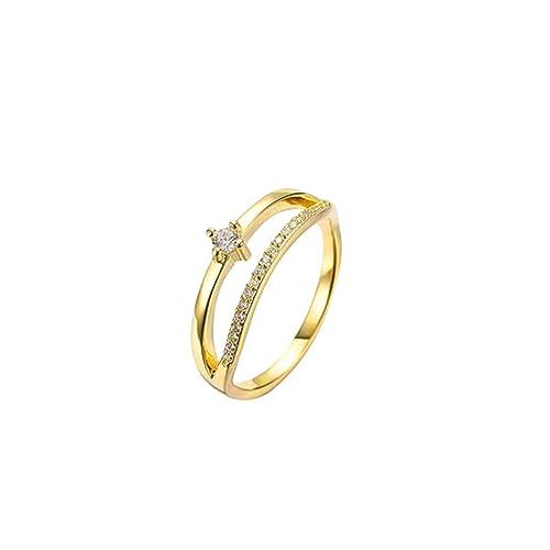 AmDxD Joyería Plateado Oro Anillo de Boda para Mujer Hueco Línea Diamante de Imitación: Amazon.es: Joyería