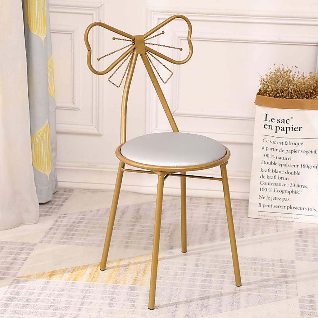 XIAOZHUZHU Klädbordsstol, flicka sovrum sminkstol metall fritidsstol dekorativa möbler kreativ rosett stol hem ryggstöd stol järn matstol, rosa Ljusgrå