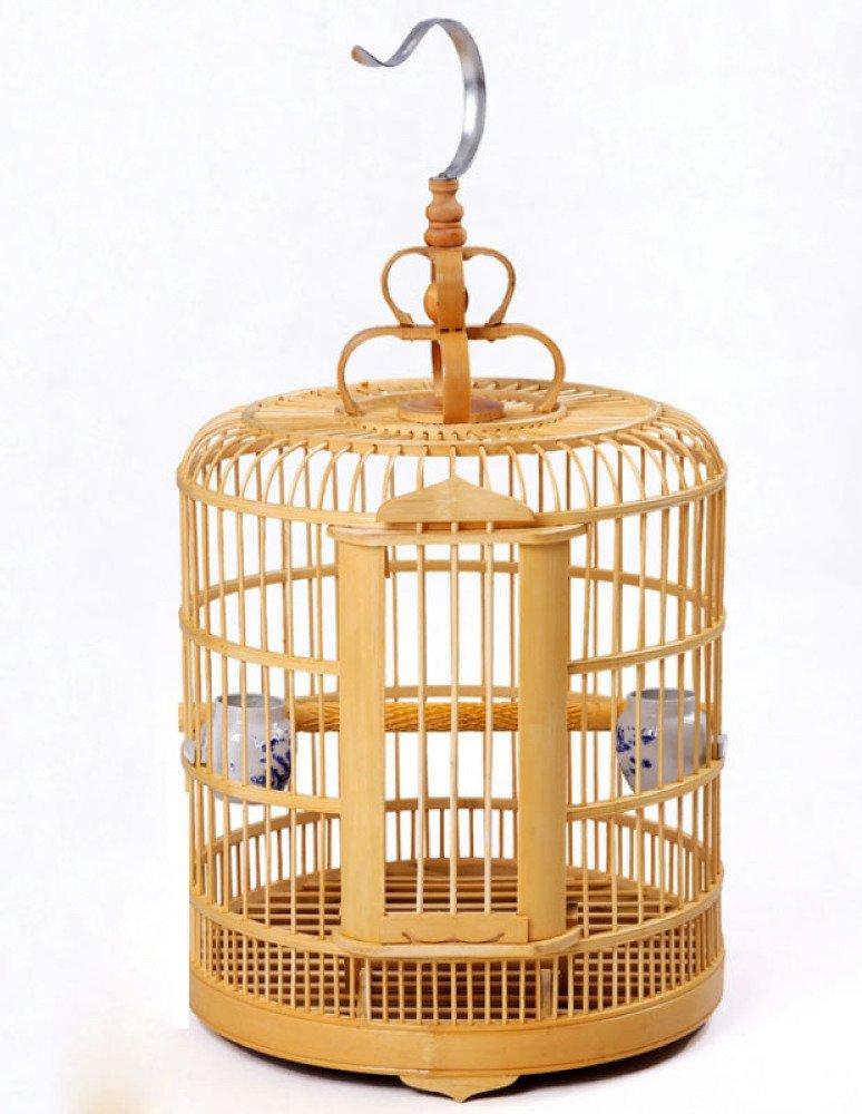 ZXT Gabbia per uccelli - materiale in puro bambù fatto a mano, più comodo per gli uccelli, bello e pratico,A,Bambù