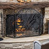 Cheap Kingsport Fireplace Screen Silver Iron Metal Flower with Black Screen