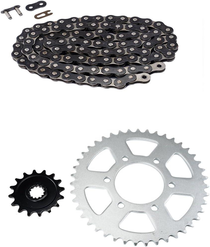 Black Standard Chain and Sprocket Kit for Kawasaki ZX-6R ZX600 Ninja Road 2007-2015