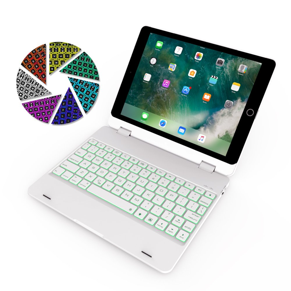 ElementDigital iPad 9.7 Keyboard Case Bluetooth Wireless Keyboard Cover with Backlit for iPad Air A1475, A1476; iPad Air 2 A1566, A1567; iPad Pro 9.7 A1675; iPad 9.7 A1954, A1823 Tablet (White)