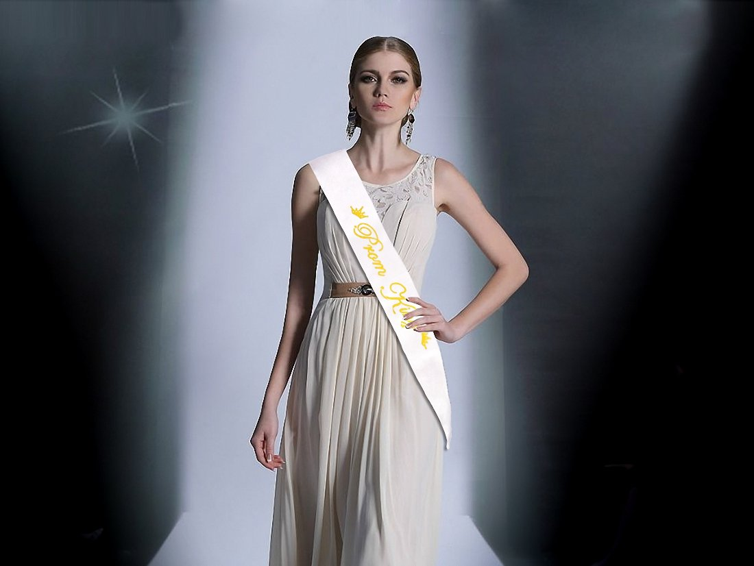 Yolito 2 Pack Prom King and Prom Queen Satin Sash,School Party Accessory,White with Gold Letter: Amazon.co.uk: Toys & Games
