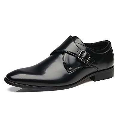Men's Single Monk Strap Plain Toe Oxfords Dress Shoes Loafers Slip On