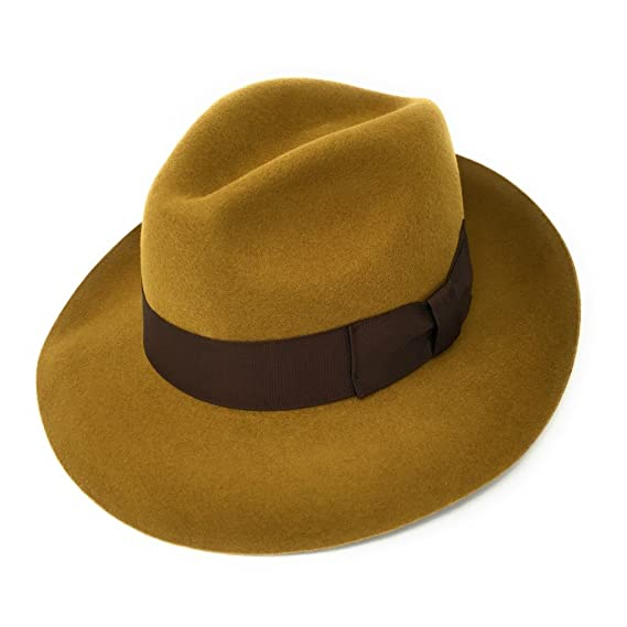 7461d6dd25b Womens Fedora Hat, Premium Wool, Mayfair - Snap Brim, High Crown, Lined:  Amazon.co.uk: Clothing