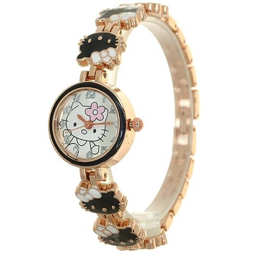 5b4908611 Luxury Brand Fashion Jewelry Bracelet Stainless Steel Ceramic Kitty Pattern  Strap Band Rhinestone Watches Women Ladies