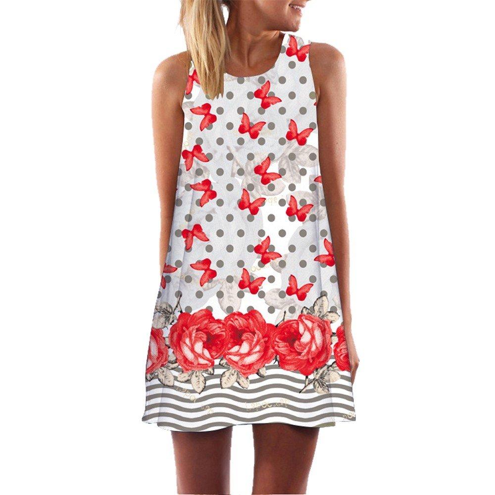 KYLEON Women Dresses Vintage Boho Summer Sleeveless Dress Casual Beach 3D Print Short Mini Loose T-Shirt Swing Sundress Red