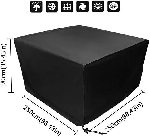 Xiliy Outdoor - Funda Protectora para Muebles de jardín, poliéster 210D, Impermeable, para Muebles de jardín, Cuadrados, mesas y sillas, Color Negro, 250 x 250 x 90 cm: Amazon.es: Jardín