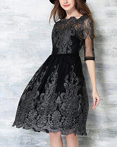 Spitzenkleid Damen Kleid Stickerei Cocktailkleid 50er Jahr Hochzeit ...