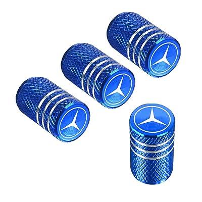 QINGTECH Valve Stem Caps,Tire Caps for Car,Motorbike,Trucks,Bike and Bicycle Aluminum 4pcs (blue): Automotive