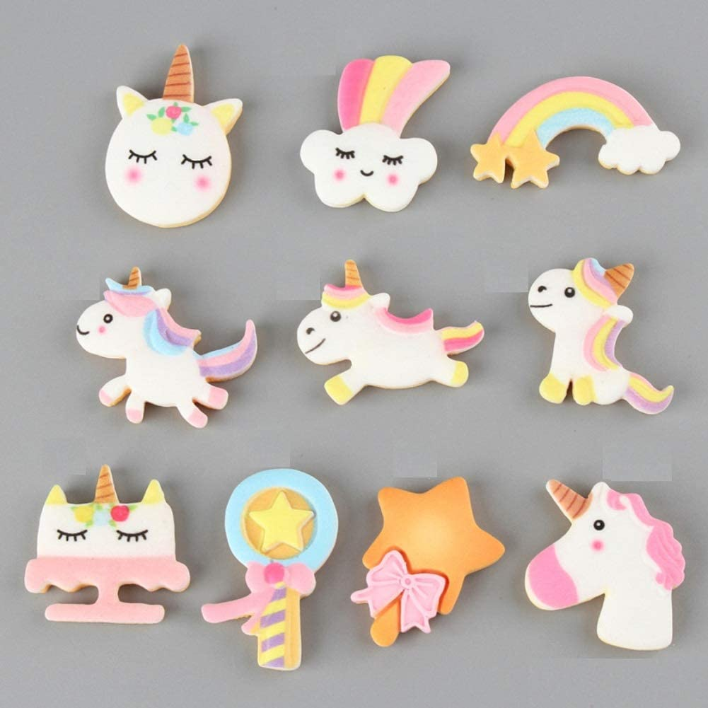 CheeseandU 100Pcs Slime Charms Cute Mixed Candy Sweet Unicorn Cloud Rainbow Resin Flatback Slime Beads Making Supplies for DIY Craft Making Ornament Scrapbooking Phone Case DIY