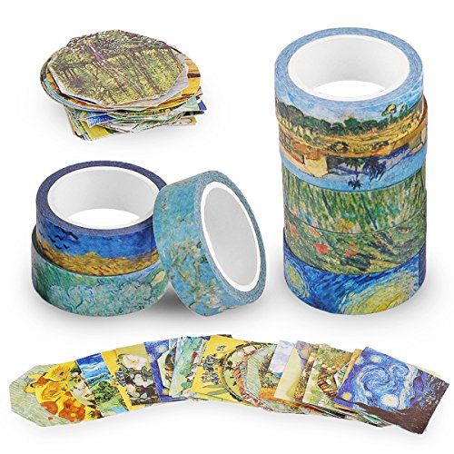 Knaid Van Gogh Inspired Washi Masking Tape Set of 8 Rolls + 90 pcs Planner Stickers, Van Gogh's Paintings Series Bundle for Arts, DIY Crafts, Gift Wrapping, Scrapbook, Journals, and Daily Planners
