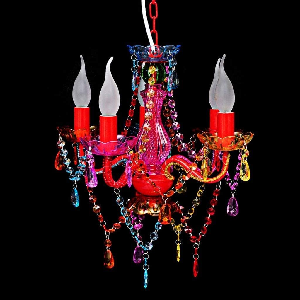 REDG Pendelleuchten Kronleuchter Deckenleuchter mit Kristallen 5 X E 14 Gl/ühbirnen 40 Watt 230 V