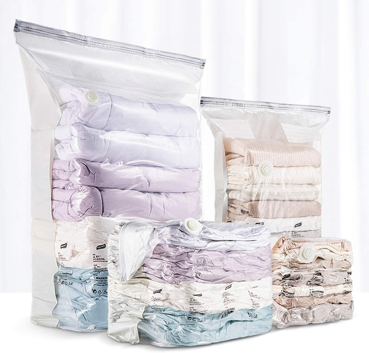 VELMADE Cube Space Saver Bags 6-Pack Vacuum Storage Bags for Bedding, Blanket, Comforter, Pillows,Vacuum Cleaner Universal Or No Pump Exhaust(3 Jumbo Cube & 3 Large Cube)