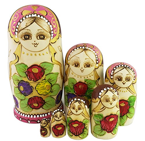 - Winterworm New Set of 7pcs Red Rose Flower and Green Leaves Nesting Dolls Authentic Russian Wooden Matryoshka Christmas Birthday Kids Gifts Home Decoration Stacking Toy