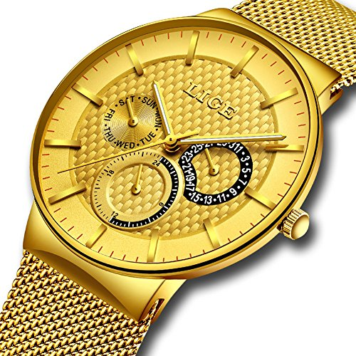 Mens LIGE Watches Waterproof Stainless Steel Sport Watch Luminous Analog Quartz Gents Business Luxury Dress Wrist Watch Casual Mesh Band Clock Watches Gold Black for Men Women