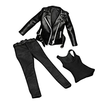 "1//6 Leather Motorcycle Jacket Jeans Set For 12/"" PHICEN Hot Toys Female Figure"